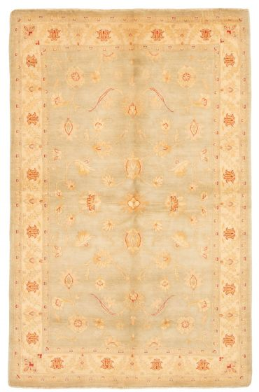 Bordered  Traditional Green Area rug 5x8 Afghan Hand-knotted 331627