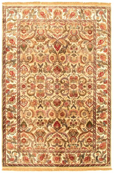Bordered  Traditional Green Area rug 5x8 Indian Hand-knotted 335483