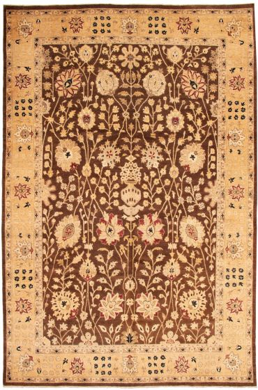 Bordered  Traditional Brown Area rug 10x14 Afghan Hand-knotted 338467