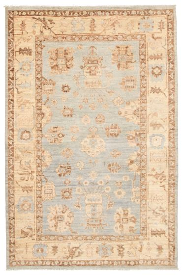 Bordered  Traditional Blue Area rug 5x8 Pakistani Hand-knotted 339029