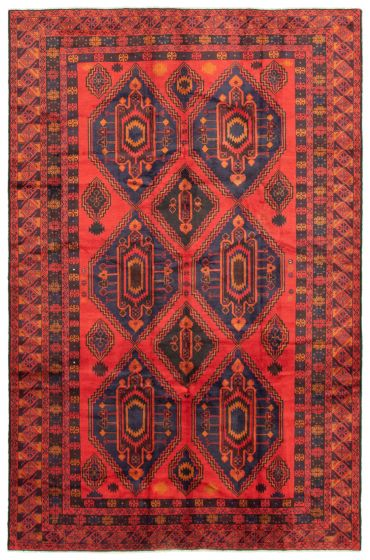 Bordered  Tribal Red Area rug 6x9 Afghan Hand-knotted 342465
