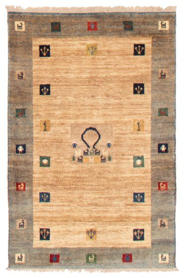 Bordered  Tribal Yellow Area rug 3x5 Persian Hand-knotted 358538