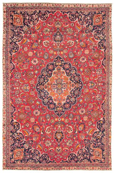 Bordered  Vintage Red Area rug 8x10 Persian Hand-knotted 367131