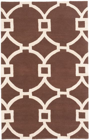 Casual Brown Area rug 5x8 Indian Hand Tufted 197285