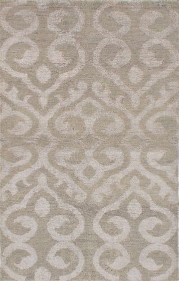 Transitional Green Area rug 5x8 Indian Hand-knotted 222037