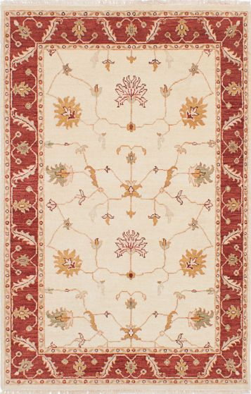 Traditional Ivory Area rug 3x5 Indian Hand-knotted 223721