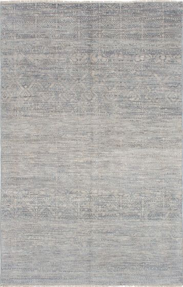 Transitional Grey Area rug 5x8 Indian Hand-knotted 223739