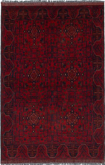 Traditional  Tribal Red Area rug 4x6 Afghan Hand-knotted 234516