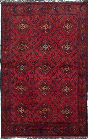 Traditional  Tribal Red Area rug 3x5 Afghan Hand-knotted 234564