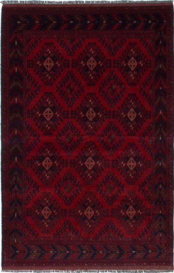 Traditional  Tribal Red Area rug 3x5 Afghan Hand-knotted 235602