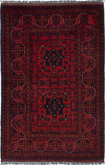 Traditional Red Area rug 3x5 Afghan Hand-knotted 236415