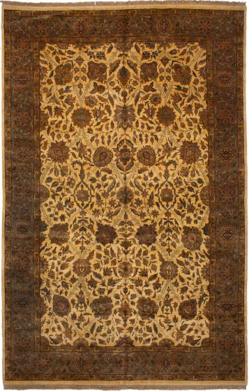 Bordered  Traditional Ivory Area rug Unique Indian Hand-knotted 272805