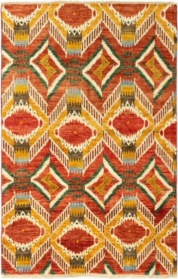 Casual  Transitional Red Area rug 5x8 Indian Hand-knotted 280328