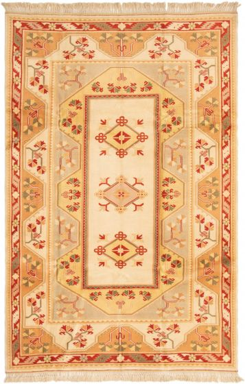 Bordered  Traditional Ivory Area rug 6x9 Turkish Hand-knotted 293188
