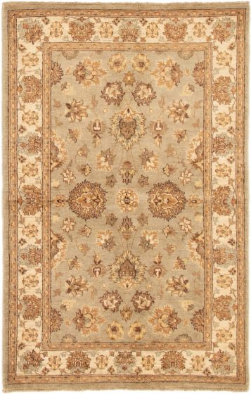 Bordered  Traditional Grey Area rug 4x6 Indian Hand-knotted 295521