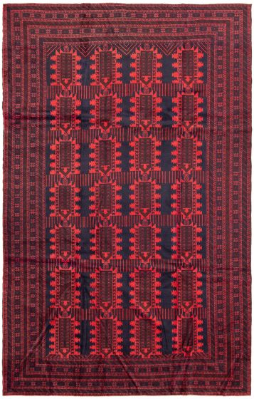 Bordered  Tribal Red Area rug Unique Afghan Hand-knotted 298258