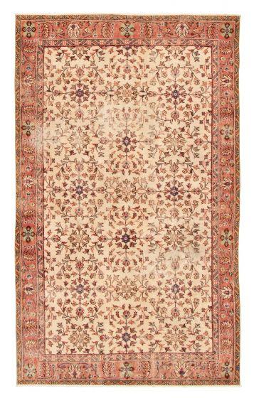 Bordered  Vintage Ivory Area rug 5x8 Turkish Hand-knotted 328184