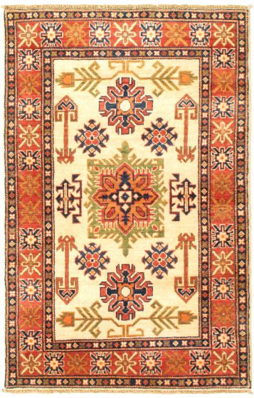 Bordered  Traditional Ivory Area rug 3x5 Afghan Hand-knotted 329858