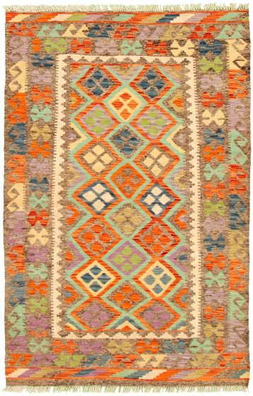 Bordered  Geometric Grey Area rug 3x5 Turkish Flat-weave 330211