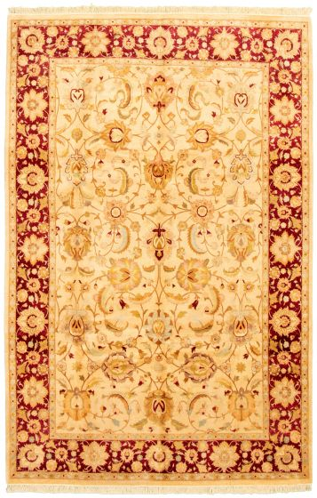 Bordered  Traditional Ivory Area rug 5x8 Pakistani Hand-knotted 330583