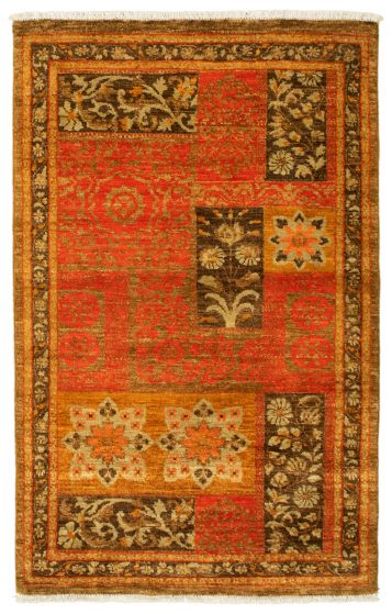 Bordered  Transitional Brown Area rug 3x5 Pakistani Hand-knotted 342105