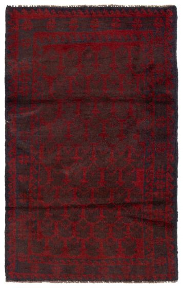 Bordered  Tribal Red Area rug 3x5 Afghan Hand-knotted 360590