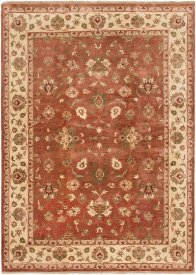 Traditional Brown Area rug 5x8 Indian Hand-knotted 164063