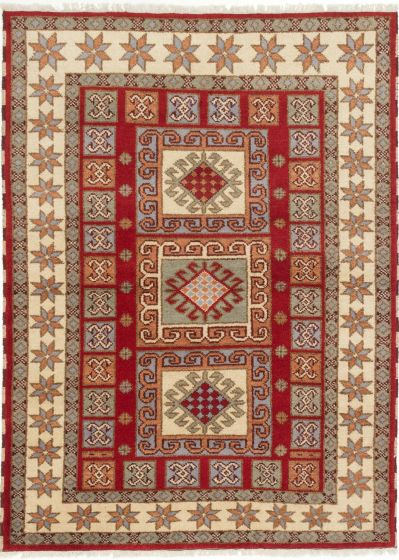 Traditional Red Area rug 4x6 Indian Hand-knotted 193409