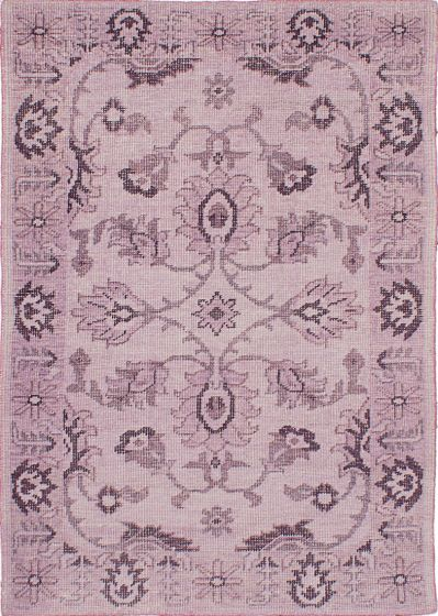 Traditional Pink Area rug 4x6 Indian Hand-knotted 222103