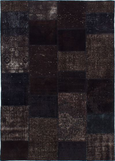 Transitional Black Area rug 5x8 Turkish Hand-knotted 231701
