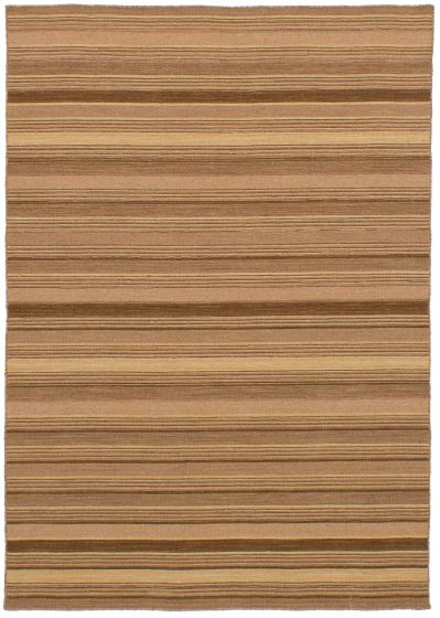 Bohemian  Stripes Brown Area rug 4x6 Indian Flat-weave 259674