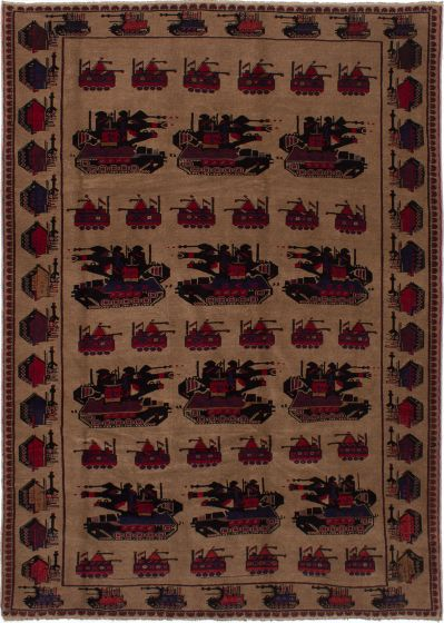 Bordered  Tribal Brown Area rug 6x9 Afghan Hand-knotted 278377