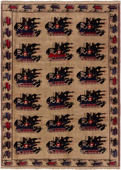 Bordered  Tribal Brown Area rug 6x9 Afghan Hand-knotted 280217