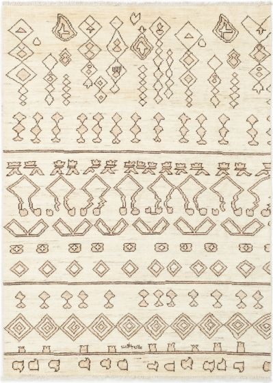 Casual  Transitional Ivory Area rug 6x9 Indian Hand-knotted 280584