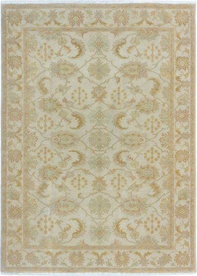 Bordered  Traditional Ivory Area rug 6x9 Turkish Hand-knotted 280947