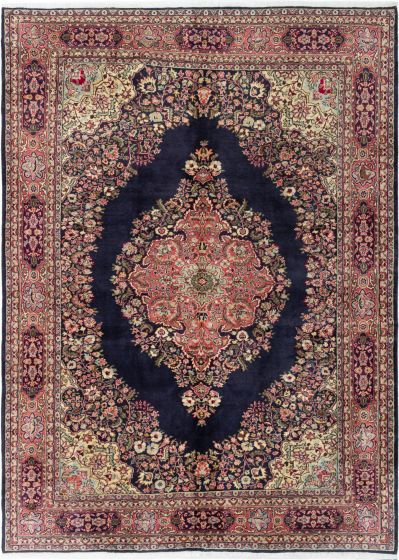 Bordered  Traditional Blue Area rug 6x9 Turkish Hand-knotted 281051
