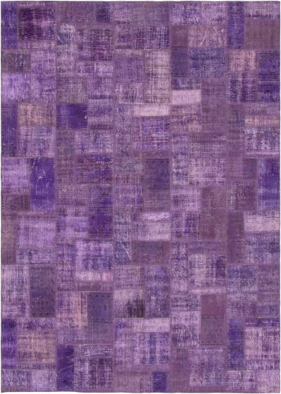 Casual  Transitional Purple Area rug 6x9 Turkish Hand-knotted 295992