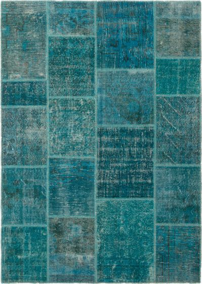 Casual  Transitional Green Area rug 5x8 Turkish Hand-knotted 296081