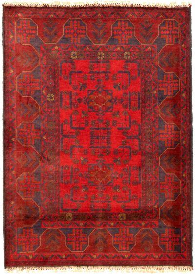 Bordered  Tribal Red Area rug 3x5 Afghan Hand-knotted 330278