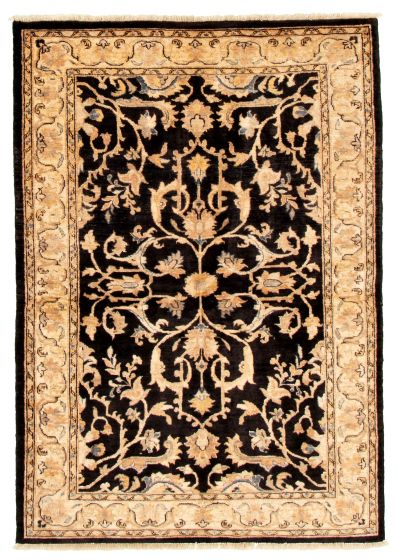 Bordered  Traditional Black Area rug 4x6 Afghan Hand-knotted 331586