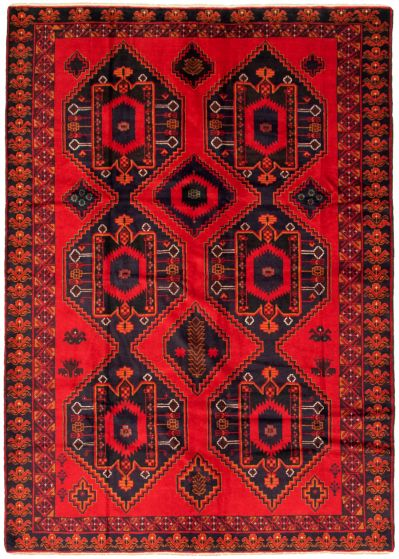 Bordered  Geometric Red Area rug 6x9 Afghan Hand-knotted 342394