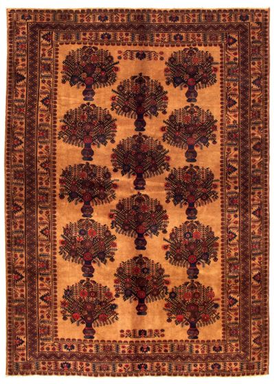 Bordered  Tribal Brown Area rug 6x9 Afghan Hand-knotted 348512