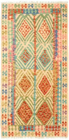Bordered  Geometric Ivory Area rug Unique Turkish Flat-weave 329967