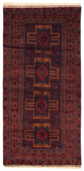 Bordered  Tribal Red Area rug 4x6 Afghan Hand-knotted 352068