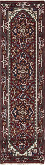 Floral  Traditional Red Runner rug 16-ft-runner Indian Hand-knotted 208325