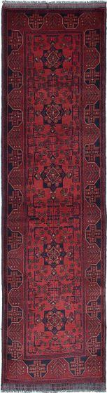 Geometric  Tribal Red Runner rug 10-ft-runner Afghan Hand-knotted 222214
