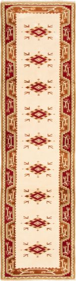 Bordered  Traditional Ivory Runner rug 10-ft-runner Turkish Hand-knotted 293820