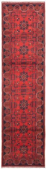 Bordered  Traditional Red Runner rug 10-ft-runner Afghan Hand-knotted 342352