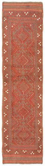 Bordered  Tribal Red Runner rug 8-ft-runner Afghan Hand-knotted 342720