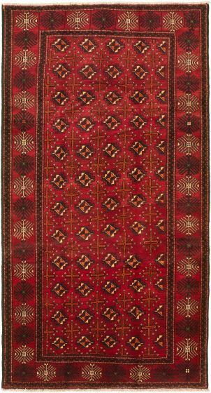 Bordered  Traditional Red Area rug Unique Turkish Hand-knotted 318546